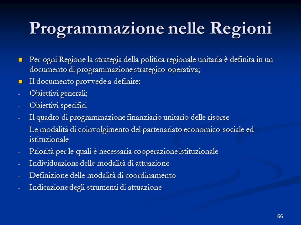 66 Programmazione nelle Regioni Per ogni Regione la strategia della politica regionale unitaria è definita in un documento di programmazione strategico-operativa; Per ogni Regione la strategia della politica regionale unitaria è definita in un documento di programmazione strategico-operativa; Il documento provvede a definire: Il documento provvede a definire: - Obiettivi generali; - Obiettivi specifici - Il quadro di programmazione finanziario unitario delle risorse - Le modalità di coinvolgimento del partenariato economico-sociale ed istituzionale - Priorità per le quali è necessaria cooperazione istituzionale - Individuazione delle modalità di attuazione - Definizione delle modalità di coordinamento - Indicazione degli strumenti di attuazione
