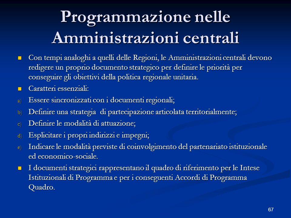 67 Programmazione nelle Amministrazioni centrali Con tempi analoghi a quelli delle Regioni, le Amministrazioni centrali devono redigere un proprio documento strategico per definire le priorità per conseguire gli obiettivi della politica regionale unitaria.