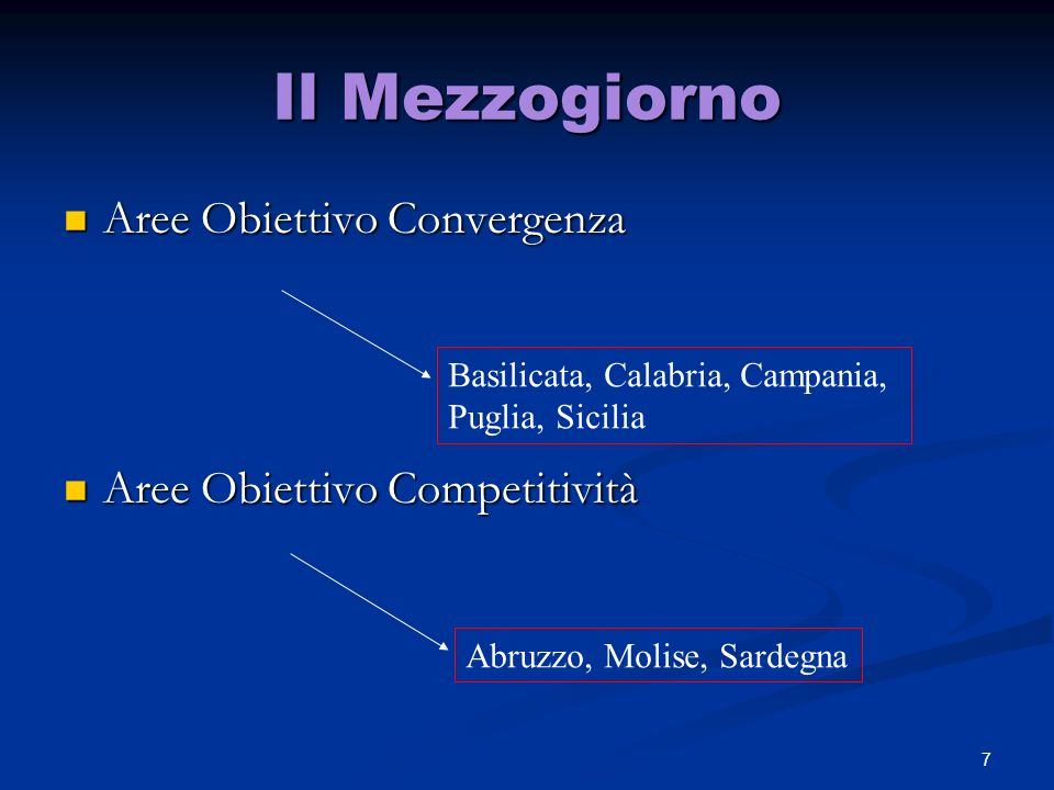 7 Il Mezzogiorno Aree Obiettivo Convergenza Aree Obiettivo Convergenza Aree Obiettivo Competitività Aree Obiettivo Competitività Abruzzo, Molise, Sardegna Basilicata, Calabria, Campania, Puglia, Sicilia