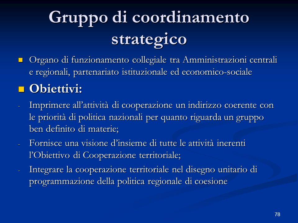 78 Gruppo di coordinamento strategico Organo di funzionamento collegiale tra Amministrazioni centrali e regionali, partenariato istituzionale ed economico-sociale Organo di funzionamento collegiale tra Amministrazioni centrali e regionali, partenariato istituzionale ed economico-sociale Obiettivi: Obiettivi: - Imprimere allattività di cooperazione un indirizzo coerente con le priorità di politica nazionali per quanto riguarda un gruppo ben definito di materie; - Fornisce una visione dinsieme di tutte le attività inerenti lObiettivo di Cooperazione territoriale; - Integrare la cooperazione territoriale nel disegno unitario di programmazione della politica regionale di coesione