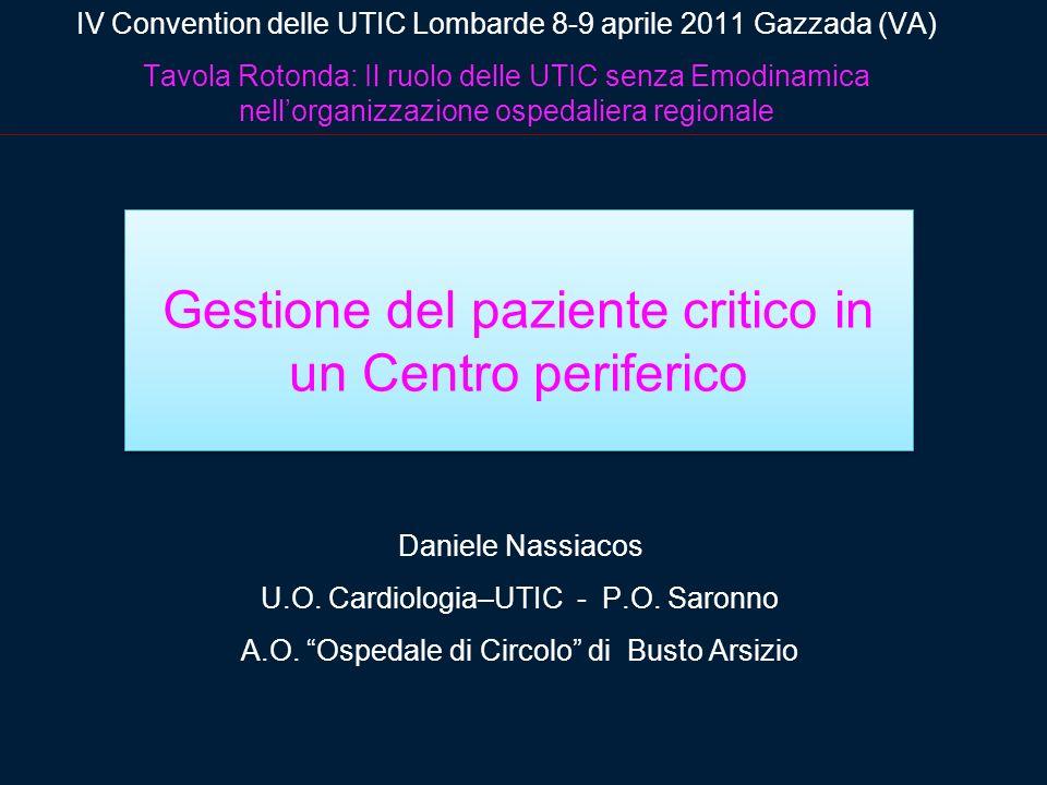 Gestione del paziente critico in un Centro periferico Daniele Nassiacos U.O. Cardiologia–UTIC - P.O. Saronno A.O. Ospedale di Circolo di Busto Arsizio