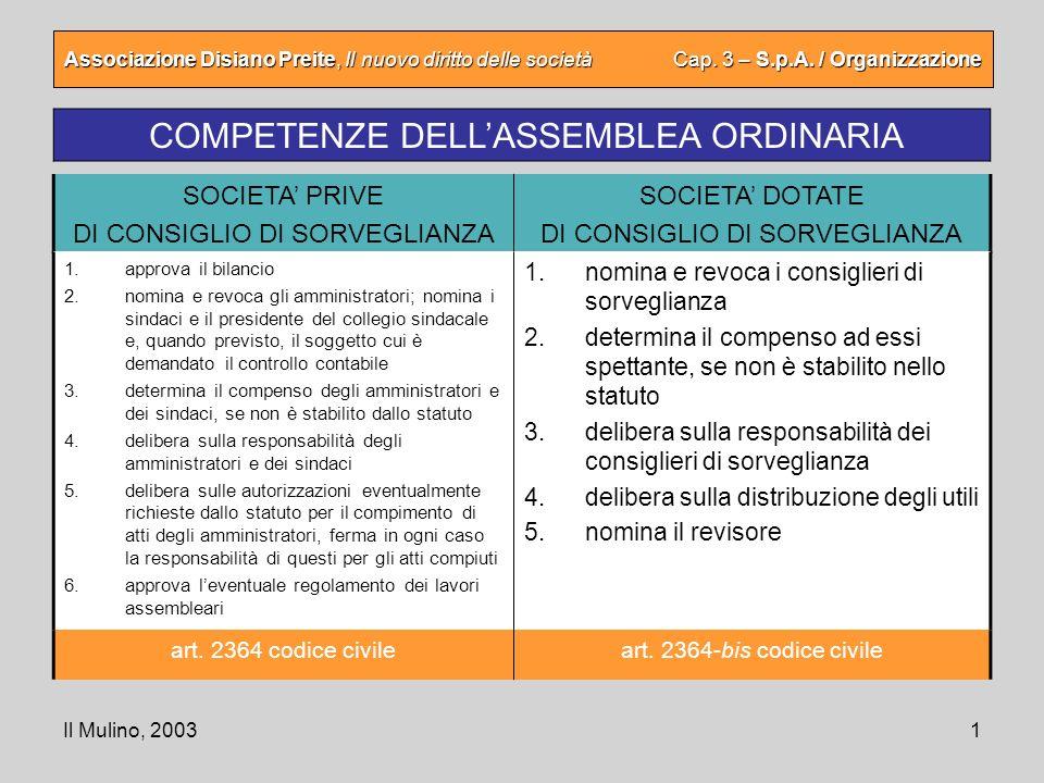 Il Mulino, 20031 Associazione Disiano Preite, Il nuovo diritto delle società Cap. 3 – S.p.A. / Organizzazione COMPETENZE DELLASSEMBLEA ORDINARIA SOCIE