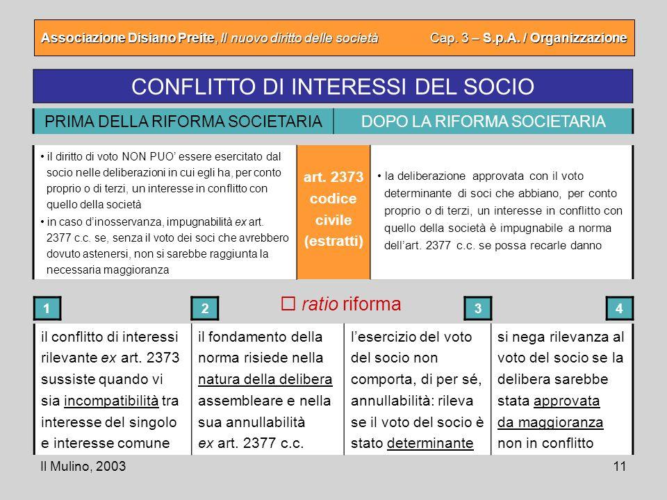 Il Mulino, 200311 Associazione Disiano Preite, Il nuovo diritto delle società Cap. 3 – S.p.A. / Organizzazione CONFLITTO DI INTERESSI DEL SOCIO il con