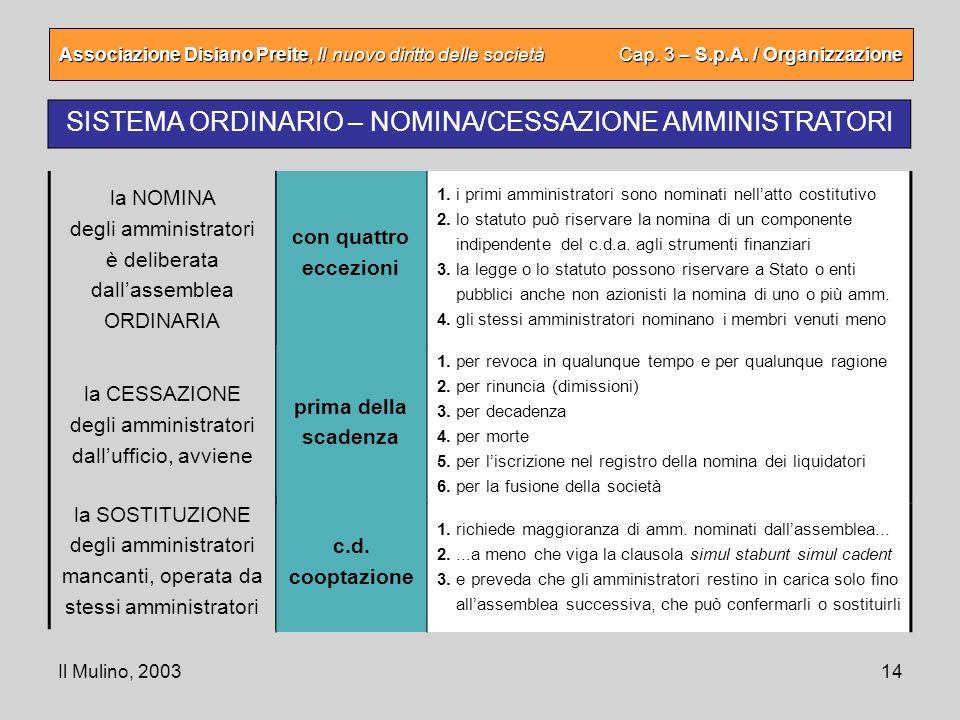 Il Mulino, 200314 Associazione Disiano Preite, Il nuovo diritto delle società Cap. 3 – S.p.A. / Organizzazione SISTEMA ORDINARIO – NOMINA/CESSAZIONE A