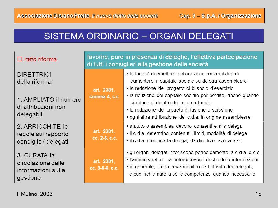 Il Mulino, 200315 Associazione Disiano Preite, Il nuovo diritto delle società Cap. 3 – S.p.A. / Organizzazione SISTEMA ORDINARIO – ORGANI DELEGATI art