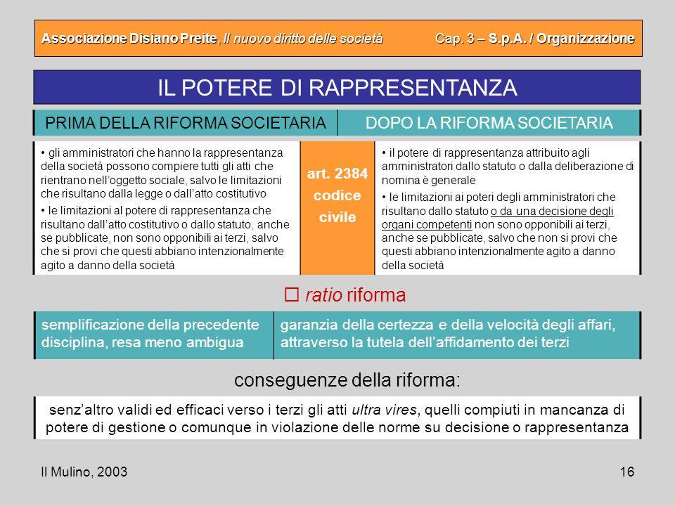 Il Mulino, 200316 Associazione Disiano Preite, Il nuovo diritto delle società Cap. 3 – S.p.A. / Organizzazione IL POTERE DI RAPPRESENTANZA semplificaz