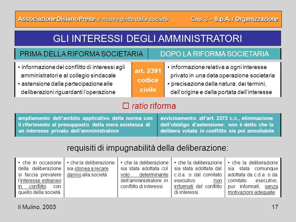 Il Mulino, 200317 Associazione Disiano Preite, Il nuovo diritto delle società Cap. 3 – S.p.A. / Organizzazione GLI INTERESSI DEGLI AMMINISTRATORI ampl