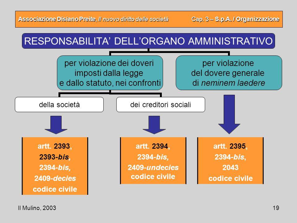 Il Mulino, 200319 Associazione Disiano Preite, Il nuovo diritto delle società Cap. 3 – S.p.A. / Organizzazione artt. 2393, 2393-bis, 2394-bis, 2409-de