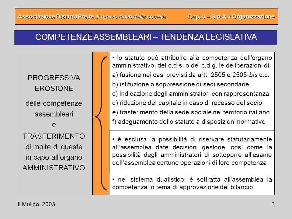 Il Mulino, 20032 Associazione Disiano Preite, Il nuovo diritto delle società Cap. 3 – S.p.A. / Organizzazione COMPETENZE ASSEMBLEARI – TENDENZA LEGISL