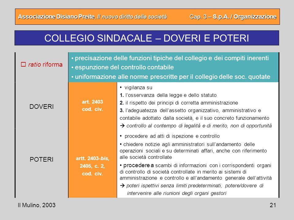 Il Mulino, 200321 Associazione Disiano Preite, Il nuovo diritto delle società Cap. 3 – S.p.A. / Organizzazione COLLEGIO SINDACALE – DOVERI E POTERI ar