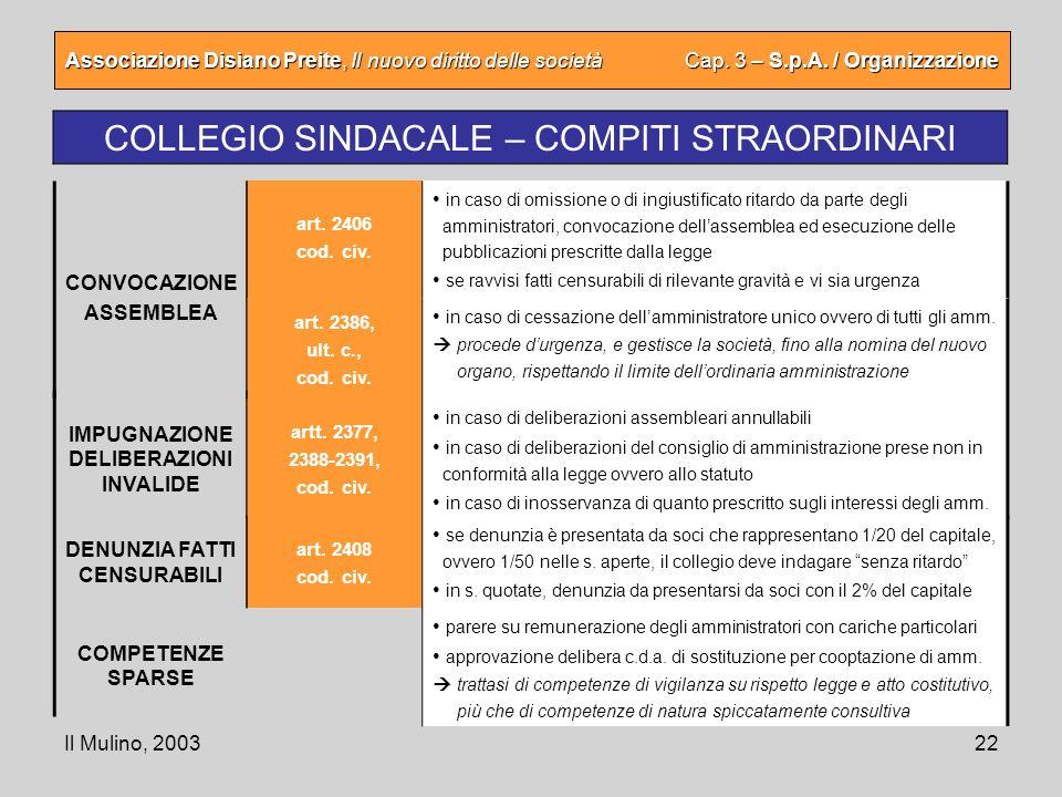 Il Mulino, 200322 Associazione Disiano Preite, Il nuovo diritto delle società Cap. 3 – S.p.A. / Organizzazione COLLEGIO SINDACALE – COMPITI STRAORDINA