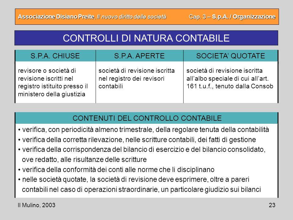 Il Mulino, 200323 Associazione Disiano Preite, Il nuovo diritto delle società Cap. 3 – S.p.A. / Organizzazione CONTROLLI DI NATURA CONTABILE S.P.A. CH