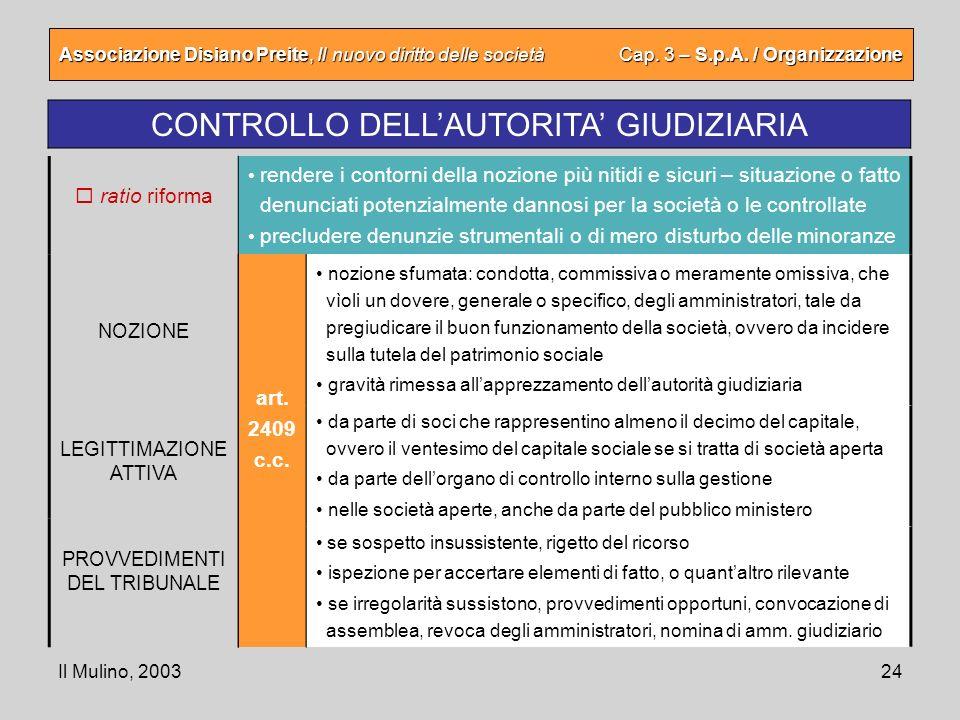 Il Mulino, 200324 Associazione Disiano Preite, Il nuovo diritto delle società Cap. 3 – S.p.A. / Organizzazione CONTROLLO DELLAUTORITA GIUDIZIARIA art.
