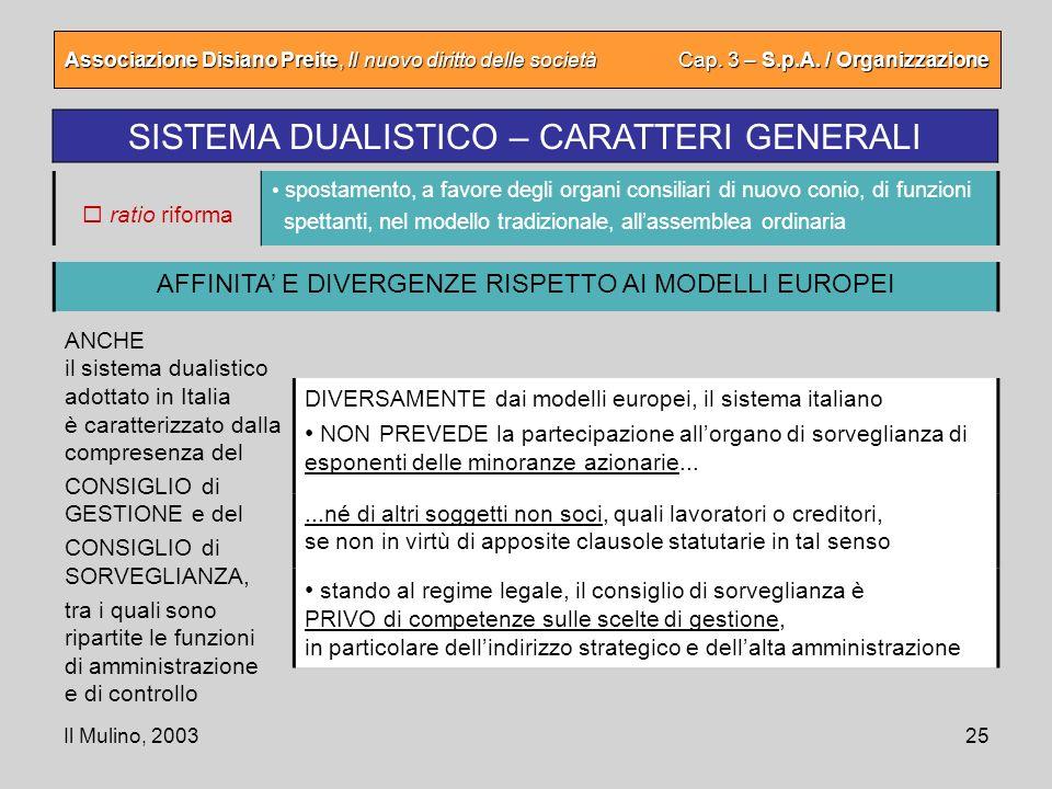 Il Mulino, 200325 Associazione Disiano Preite, Il nuovo diritto delle società Cap. 3 – S.p.A. / Organizzazione SISTEMA DUALISTICO – CARATTERI GENERALI
