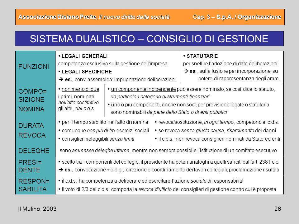 Il Mulino, 200326 Associazione Disiano Preite, Il nuovo diritto delle società Cap. 3 – S.p.A. / Organizzazione SISTEMA DUALISTICO – CONSIGLIO DI GESTI