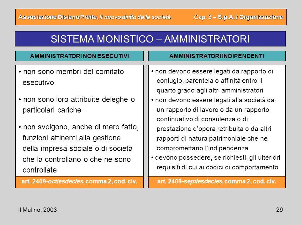 Il Mulino, 200329 Associazione Disiano Preite, Il nuovo diritto delle società Cap. 3 – S.p.A. / Organizzazione SISTEMA MONISTICO – AMMINISTRATORI AMMI