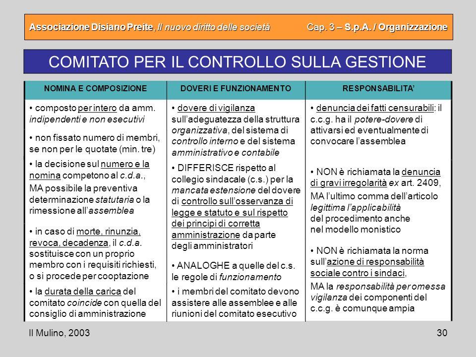Il Mulino, 200330 Associazione Disiano Preite, Il nuovo diritto delle società Cap. 3 – S.p.A. / Organizzazione COMITATO PER IL CONTROLLO SULLA GESTION