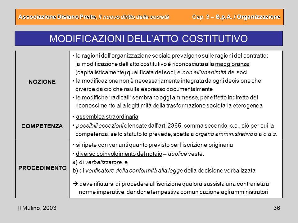 Il Mulino, 200336 Associazione Disiano Preite, Il nuovo diritto delle società Cap. 3 – S.p.A. / Organizzazione MODIFICAZIONI DELLATTO COSTITUTIVO le r