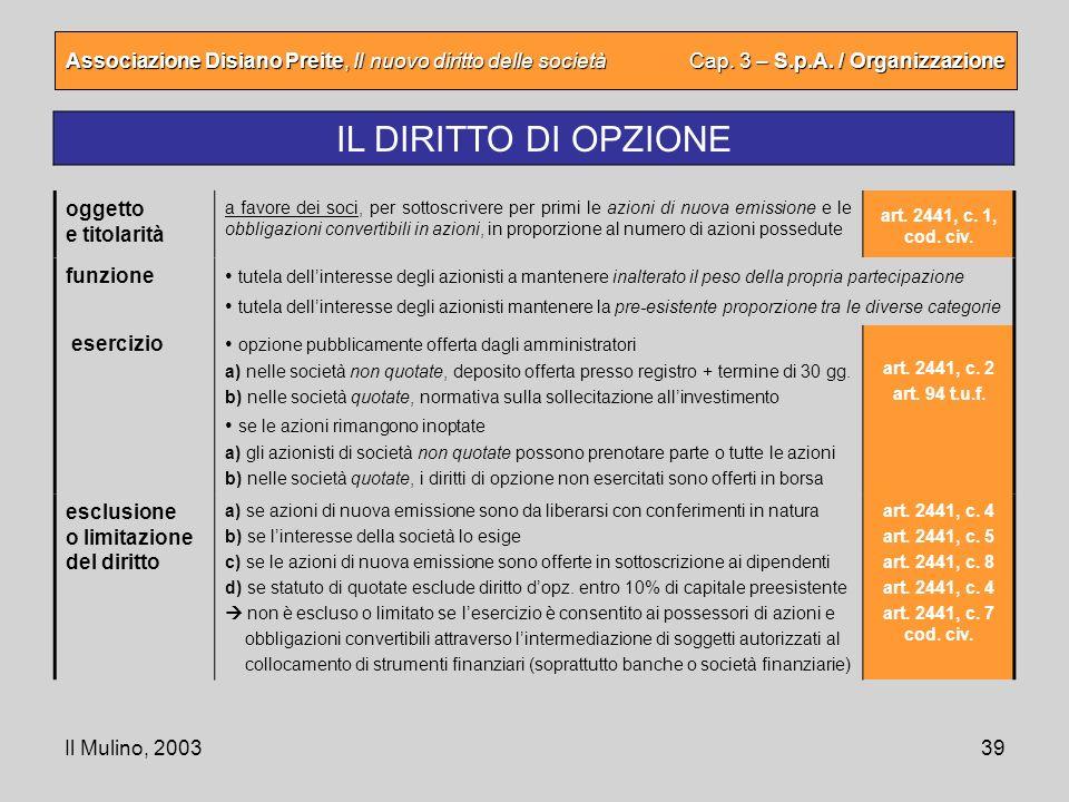 Il Mulino, 200339 Associazione Disiano Preite, Il nuovo diritto delle società Cap. 3 – S.p.A. / Organizzazione IL DIRITTO DI OPZIONE oggetto e titolar