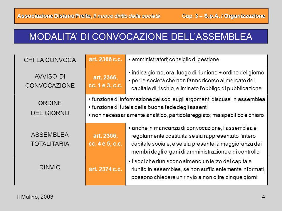 Il Mulino, 20034 Associazione Disiano Preite, Il nuovo diritto delle società Cap. 3 – S.p.A. / Organizzazione MODALITA DI CONVOCAZIONE DELLASSEMBLEA A