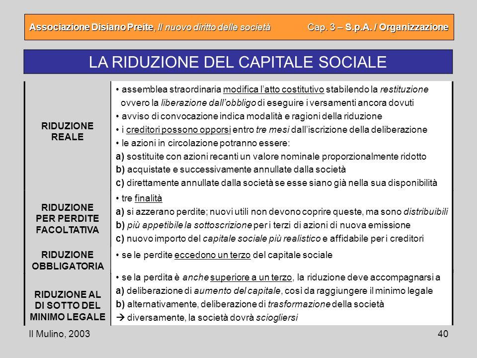 Il Mulino, 200340 Associazione Disiano Preite, Il nuovo diritto delle società Cap. 3 – S.p.A. / Organizzazione LA RIDUZIONE DEL CAPITALE SOCIALE assem