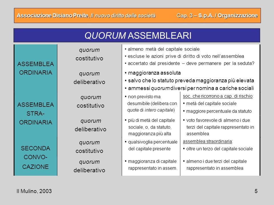 Il Mulino, 20035 Associazione Disiano Preite, Il nuovo diritto delle società Cap. 3 – S.p.A. / Organizzazione QUORUM ASSEMBLEARI quorum deliberativo m