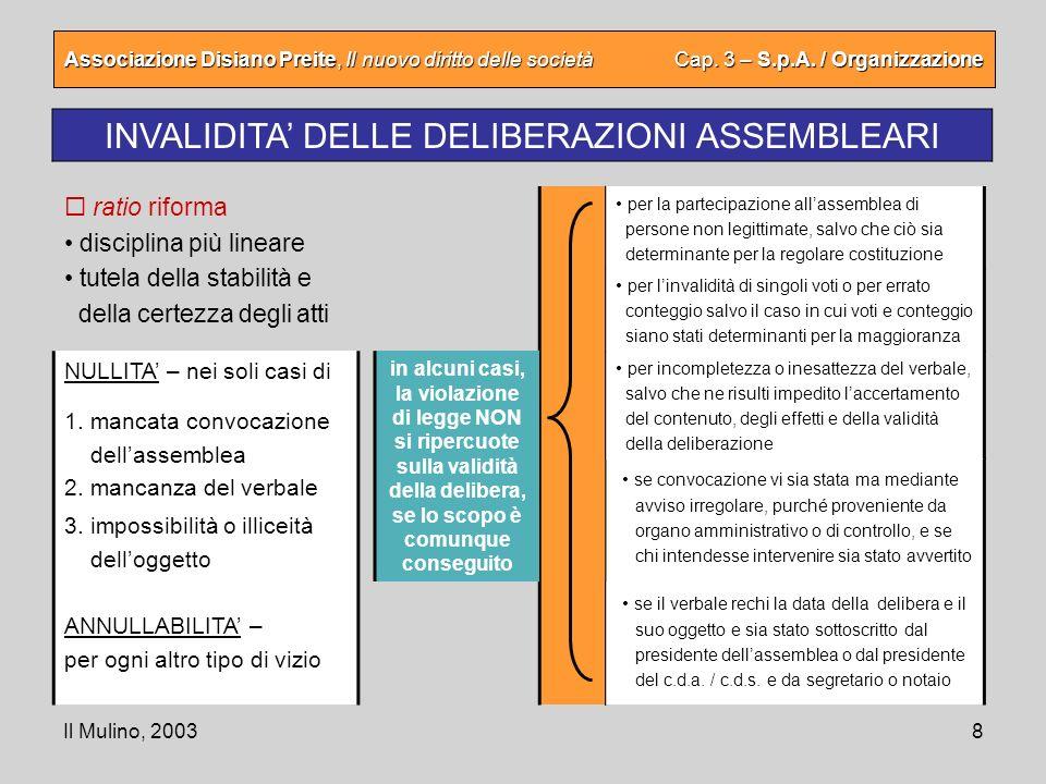 Il Mulino, 20038 Associazione Disiano Preite, Il nuovo diritto delle società Cap. 3 – S.p.A. / Organizzazione INVALIDITA DELLE DELIBERAZIONI ASSEMBLEA