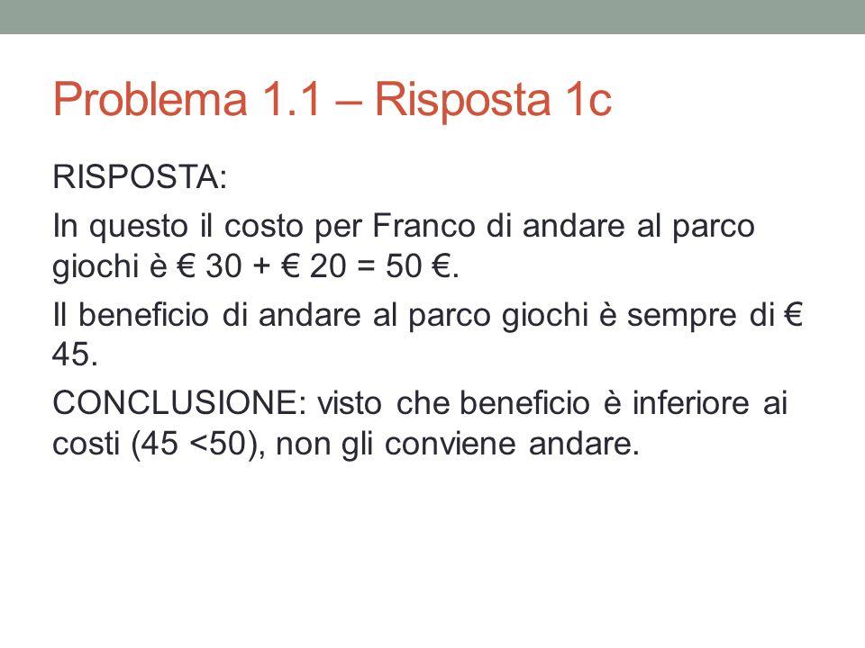 Problema 1.1 – Risposta 1c RISPOSTA: In questo il costo per Franco di andare al parco giochi è 30 + 20 = 50.