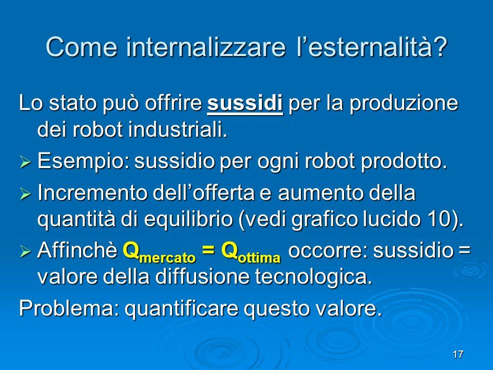 17 Come internalizzare lesternalità? Lo stato può offrire sussidi per la produzione dei robot industriali. Esempio: sussidio per ogni robot prodotto.