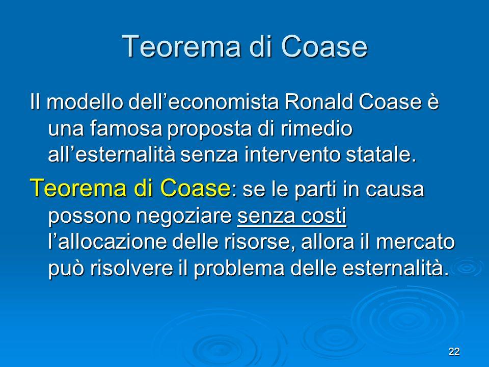 22 Teorema di Coase Il modello delleconomista Ronald Coase è una famosa proposta di rimedio allesternalità senza intervento statale. Teorema di Coase