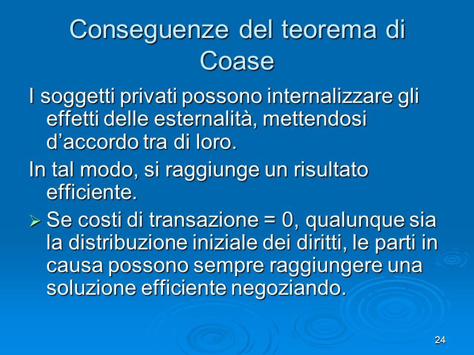 24 Conseguenze del teorema di Coase I soggetti privati possono internalizzare gli effetti delle esternalità, mettendosi daccordo tra di loro. In tal m