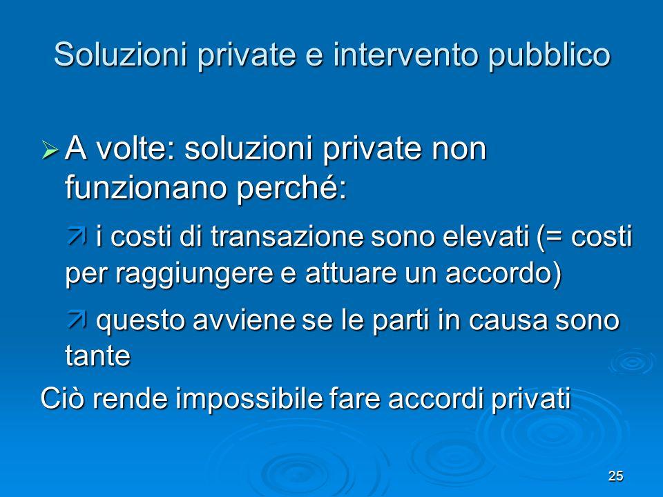 25 Soluzioni private e intervento pubblico A volte: soluzioni private non funzionano perché: A volte: soluzioni private non funzionano perché: i costi