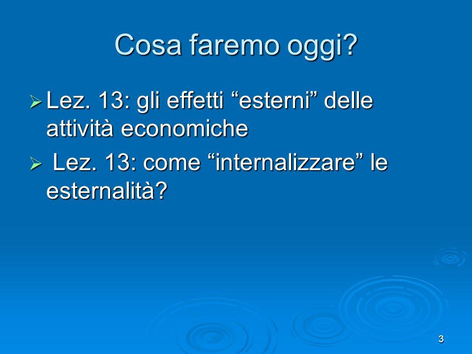 3 Cosa faremo oggi.Lez. 13: gli effetti esterni delle attività economiche Lez.