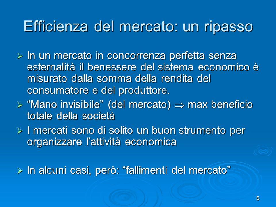 5 Efficienza del mercato: un ripasso In un mercato in concorrenza perfetta senza esternalità il benessere del sistema economico è misurato dalla somma della rendita del consumatore e del produttore.