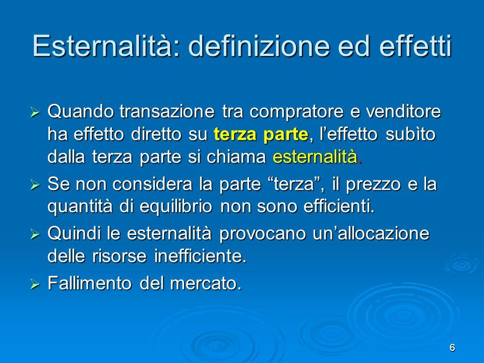 6 Esternalità: definizione ed effetti Quando transazione tra compratore e venditore ha effetto diretto su terza parte, leffetto subìto dalla terza parte si chiama esternalità.