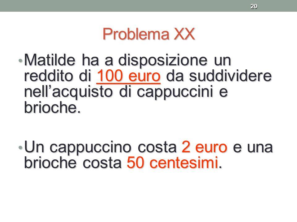 20 Problema XX Matilde ha a disposizione un reddito di 100 euro da suddividere nellacquisto di cappuccini e brioche. Matilde ha a disposizione un redd