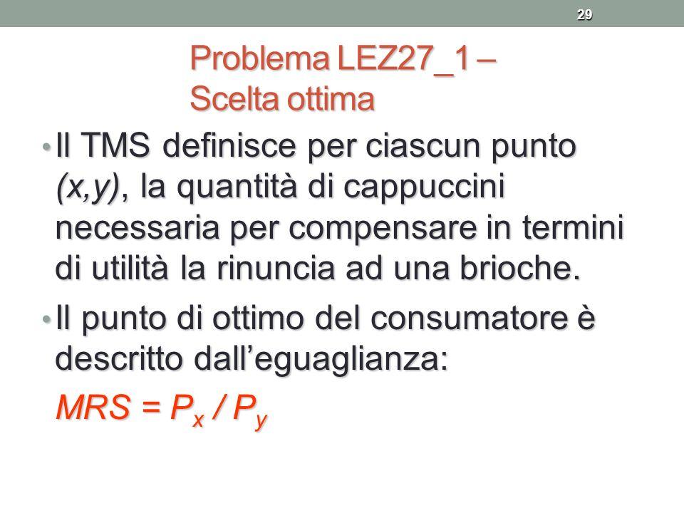 29 Problema LEZ27_1 – Scelta ottima Il TMS definisce per ciascun punto (x,y), la quantità di cappuccini necessaria per compensare in termini di utilit