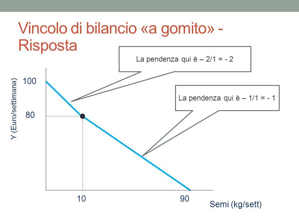 Vincolo di bilancio «a gomito» - Risposta Y (Euro/settimana) Semi (kg/sett) 100 90 10 80 La pendenza qui è – 2/1 = - 2 La pendenza qui è – 1/1 = - 1
