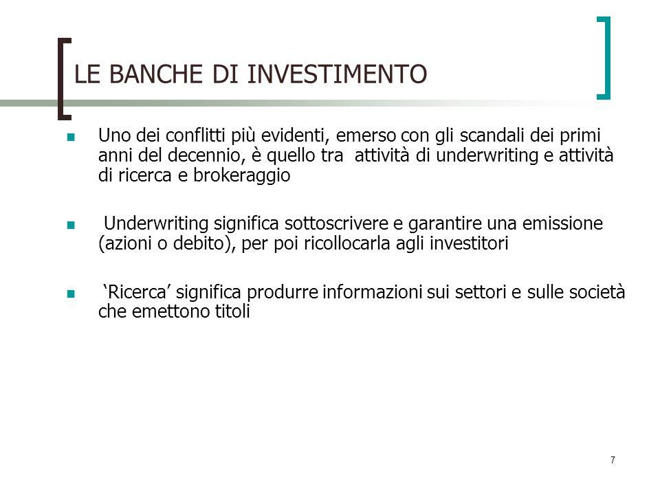 8 LE BANCHE DI INVESTIMENTO La banca dinvestimento serve due tipi di clientela diversi: le società che emettono titoli e gli investitori cui venderli.