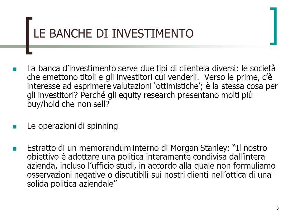 9 LE BANCHE DI INVESTIMENTO Sanzioni legali sono state imposte a tutte le principali banche di investimento: J.P.