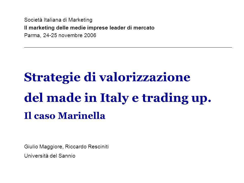 Società Italiana di Marketing Il marketing delle medie imprese leader di mercato Parma, 24-25 novembre 2006 Strategie di valorizzazione del made in It
