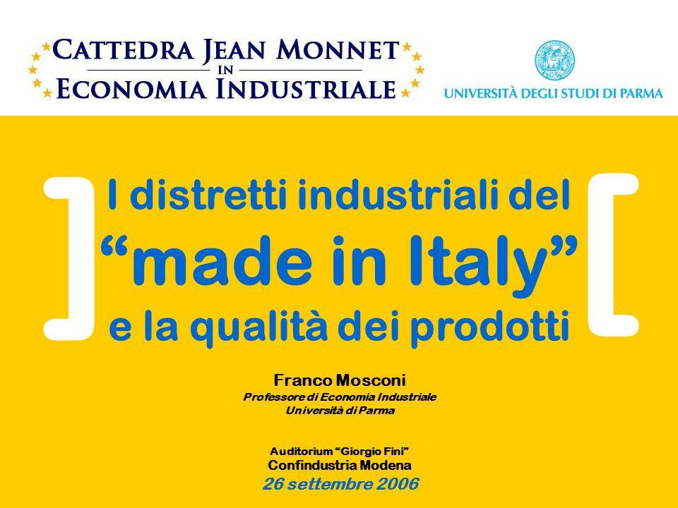 I distretti industriali del made in Italy e la qualità dei prodotti Franco Mosconi Professore di Economia Industriale Università di Parma Auditorium Giorgio Fini Confindustria Modena 26 settembre 2006 [ ]