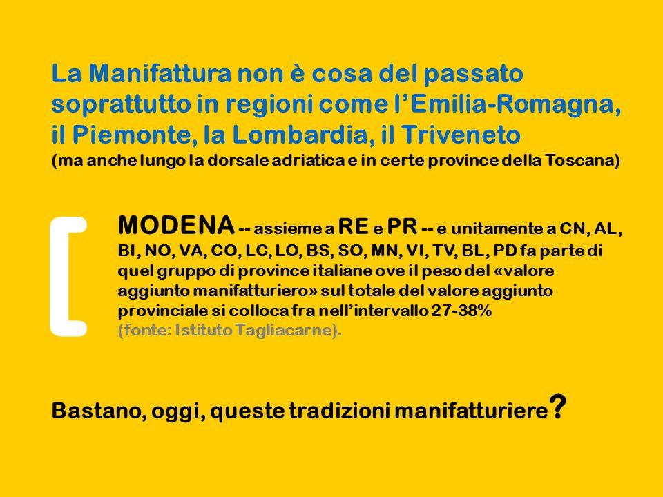 La Manifattura non è cosa del passato soprattutto in regioni come lEmilia-Romagna, il Piemonte, la Lombardia, il Triveneto (ma anche lungo la dorsale adriatica e in certe province della Toscana) MODENA -- assieme a RE e PR -- e unitamente a CN, AL, BI, NO, VA, CO, LC, LO, BS, SO, MN, VI, TV, BL, PD fa parte di quel gruppo di province italiane ove il peso del «valore aggiunto manifatturiero» sul totale del valore aggiunto provinciale si colloca fra nellintervallo 27-38% (fonte: Istituto Tagliacarne).