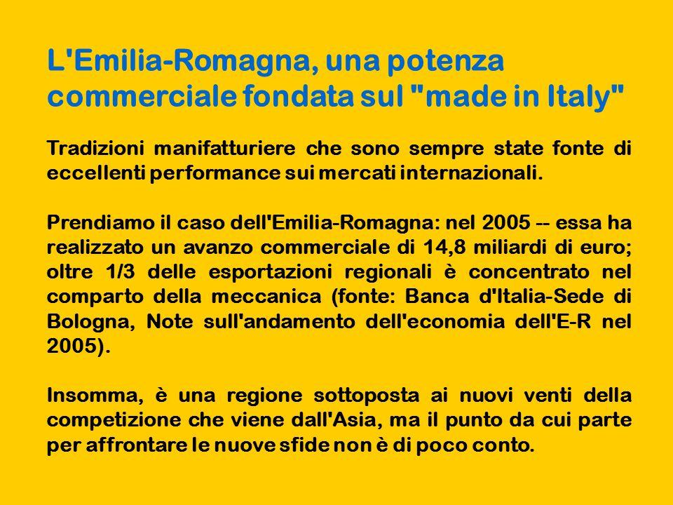 L Emilia-Romagna, una potenza commerciale fondata sul made in Italy Tradizioni manifatturiere che sono sempre state fonte di eccellenti performance sui mercati internazionali.