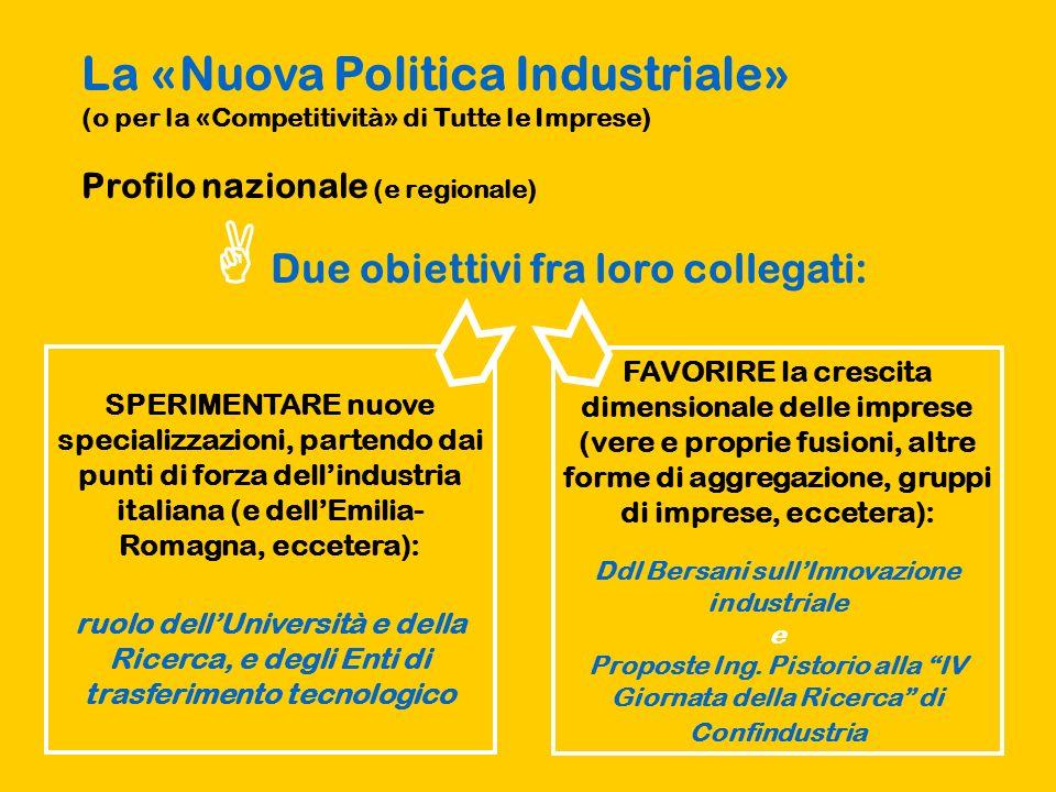 La «Nuova Politica Industriale» (o per la «Competitività» di Tutte le Imprese) Profilo nazionale (e regionale) Due obiettivi fra loro collegati: SPERI