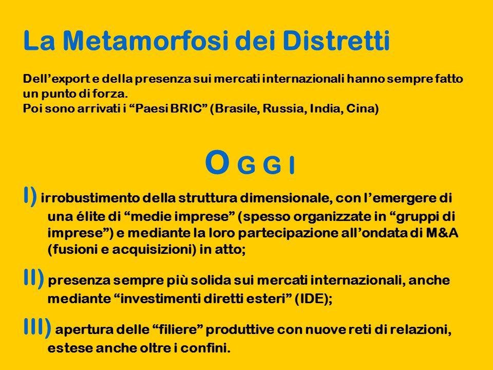 La Metamorfosi dei Distretti Dellexport e della presenza sui mercati internazionali hanno sempre fatto un punto di forza.