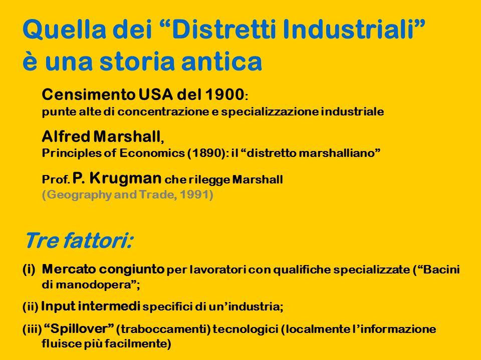 Quella dei Distretti Industriali è una storia antica Censimento USA del 1900 : punte alte di concentrazione e specializzazione industriale Alfred Marshall, Principles of Economics (1890): il distretto marshalliano Prof.