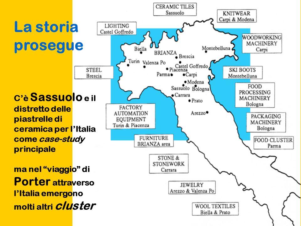 La storia prosegue Cè Sassuolo e il distretto delle piastrelle di ceramica per lItalia come case-study principale ma nel viaggio di Porter attraverso lItalia emergono molti altri cluster