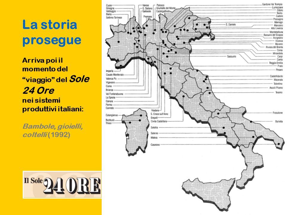 La storia prosegue Arriva poi il momento del viaggio del Sole 24 Ore nei sistemi produttivi italiani: Bambole, gioielli, coltelli (1992)