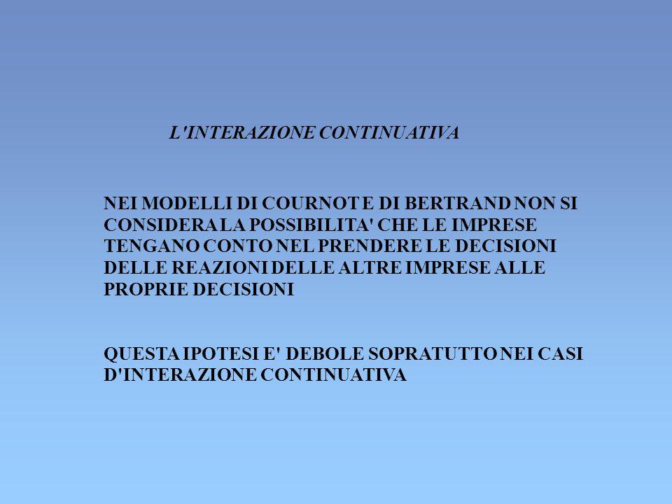 L INTERAZIONE CONTINUATIVA NEI MODELLI DI COURNOT E DI BERTRAND NON SI CONSIDERA LA POSSIBILITA CHE LE IMPRESE TENGANO CONTO NEL PRENDERE LE DECISIONI DELLE REAZIONI DELLE ALTRE IMPRESE ALLE PROPRIE DECISIONI QUESTA IPOTESI E DEBOLE SOPRATUTTO NEI CASI D INTERAZIONE CONTINUATIVA